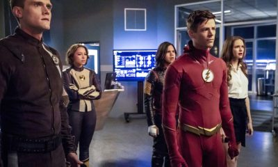 "The Flash -- ""Blocked"" -- Image Number: FLA502a_0108b2b.jpg -- Pictured (L-R): Hartley Sawyer as Dibney/Elongated Man, Jessica Parker Kennedy as Nora West - Allen/XS, Carlos Valdes as Cisco Ramon/Vibe, Grant Gustin as Barry Allen/ The Flash and Danielle Panabaker as Caitlin Snow -- Photo: Jack Rowand/The CW -- © 2018 The CW Network, LLC. All rights reserved"