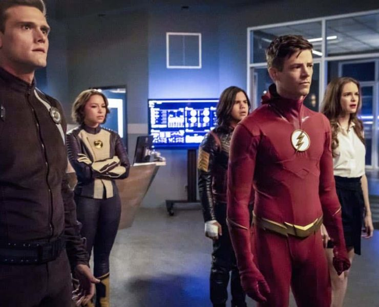 """The Flash -- """"Blocked"""" -- Image Number: FLA502a_0108b2b.jpg -- Pictured (L-R): Hartley Sawyer as Dibney/Elongated Man, Jessica Parker Kennedy as Nora West - Allen/XS, Carlos Valdes as Cisco Ramon/Vibe, Grant Gustin as Barry Allen/ The Flash and Danielle Panabaker as Caitlin Snow -- Photo: Jack Rowand/The CW -- © 2018 The CW Network, LLC. All rights reserved"""