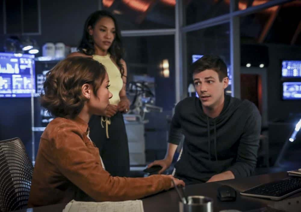 "The Flash -- ""Blocked"" -- Image Number: FLA502a_0000b.jpg -- Pictured (L-R): Grant Jessica Parker Kennedy as Nora West - Allen, Candice Patton as Iris West - Allen and Gustin as Barry Allen -- Photo: Jack Rowand/The CW -- © 2018 The CW Network, LLC. All rights reserved"