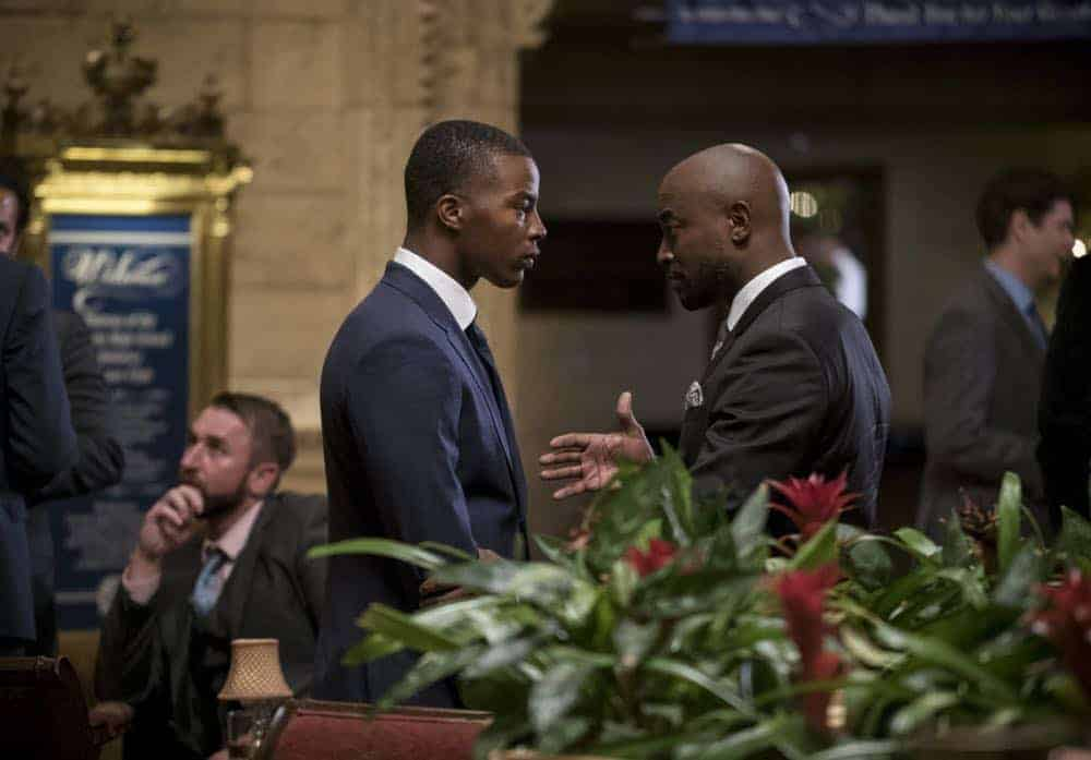"""All American -- """"99 Problems""""-- Image Number: ALA102c_0142b.jpg -- Pictured (L-R): Daniel Ezra as Spencer and Taye Diggs as Billy -- Photo: Jesse Giddings/The CW -- © 2018 The CW Network, LLC. All Rights Reserved"""