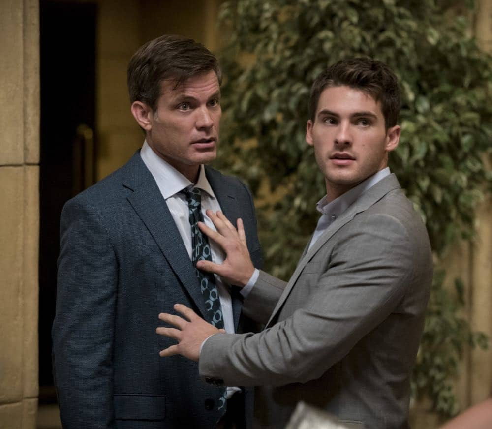 """All American -- """"99 Problems""""-- Image Number: ALA102c_0182b.jpg -- Pictured (L-R): Casper Van Dien as Harold Adams and Cody Christian as Asher -- Photo: Jesse Giddings/The CW -- © 2018 The CW Network, LLC. All Rights Reserved"""