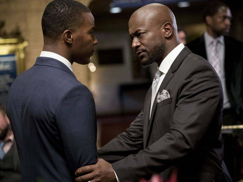 """All American -- """"99 Problems""""-- Image Number: ALA102c_0196b.jpg -- Pictured (L-R): Daniel Ezra as Spencer and Taye Diggs as Billy -- Photo: Jesse Giddings/The CW -- © 2018 The CW Network, LLC. All Rights Reserved"""
