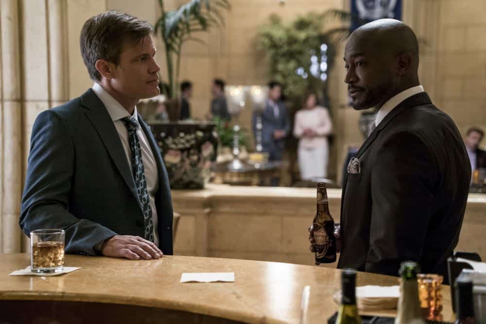 """All American -- """"99 Problems""""-- Image Number: ALA102c_0246b.jpg -- Pictured (L-R): Casper Van Dien as Harold Adams and Taye Diggs as Billy -- Photo: Jesse Giddings/The CW -- © 2018 The CW Network, LLC. All Rights Reserved"""