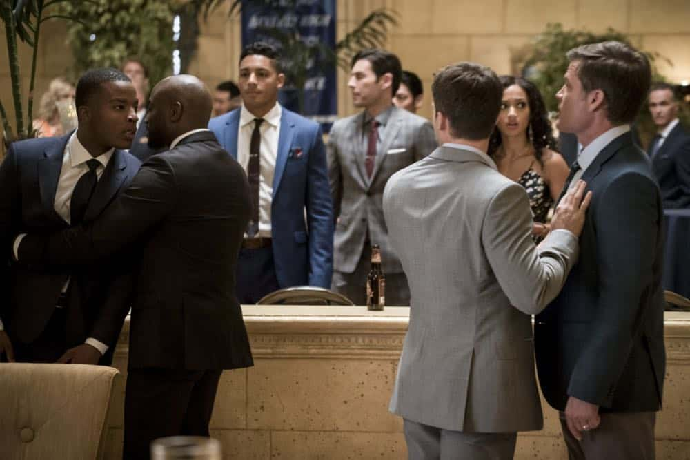 """All American -- """"99 Problems""""-- Image Number: ALA102c_0256b.jpg -- Pictured (L-R): Daniel Ezra as Spencer, Taye Diggs as Billy, Cody Christian as Asher and Casper Van Dien as Harold Adams -- Photo: Jesse Giddings/The CW -- © 2018 The CW Network, LLC. All Rights Reserved"""