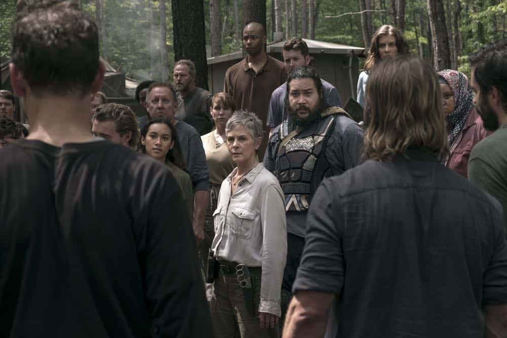 Melissa McBride as Carol Peletier, Cooper Andrews as Jerry, Lauren Cohan as Maggie Rhee, Sydney Park as Cyndie, Nadine Marissa as Nabila - Walking Dead _ Season 9, Episode 3 - Photo Credit: Gene Page/AMC
