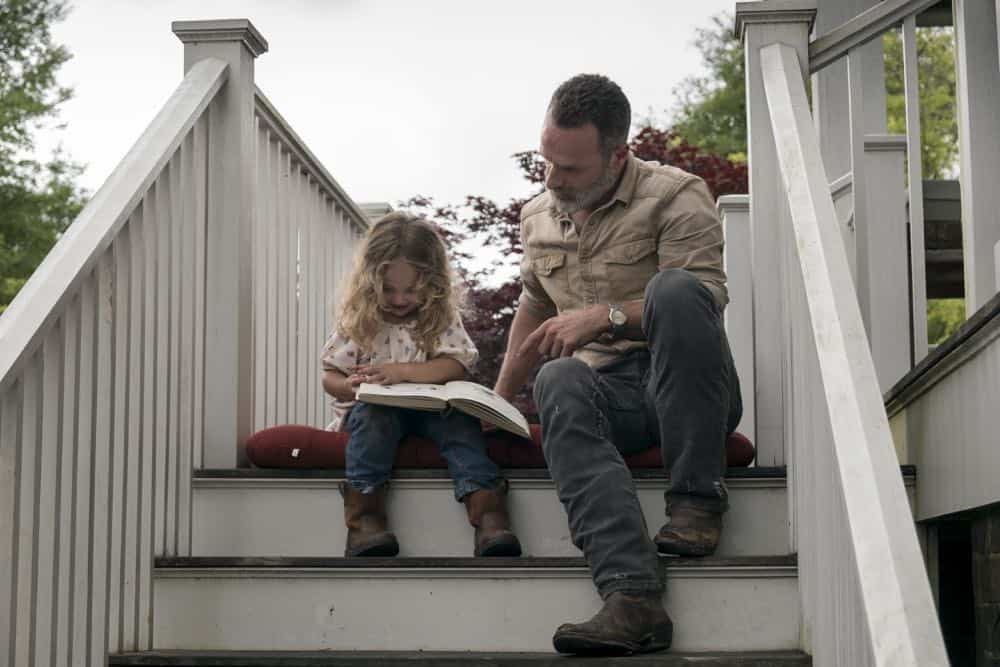 Chloe Garcia-Frizzi as Judith Grimes, Andrew Lincoln as Rick Grimes - The Walking Dead _ Season 9, Episode 3 - Photo Credit: Gene Page/AMC