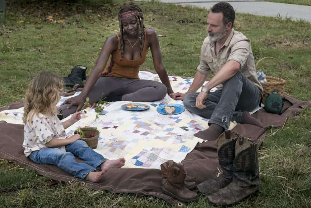 Andrew Lincoln as Rick Grimes, Danai Gurira as Michonne, Chloe Garcia-Frizzi as Judith Grimes - The Walking Dead _ Season 9, Episode 3 - Photo Credit: Gene Page/AMC