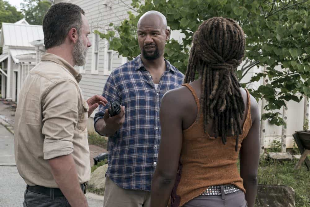 Andrew Lincoln as Rick Grimes, Danai Gurira as Michonne, Kenric Green as Scott - The Walking Dead _ Season 9, Episode 3 - Photo Credit: Gene Page/AMC
