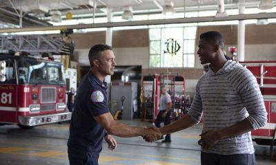 "CHICAGO FIRE -- ""This Isn't Charity"" Episode 704 -- Pictured: (l-r) Taylor Kinney as Kelly Severide, Justin Cornwell as Tyler -- (Photo by: Adrian Burrows/NBC)"