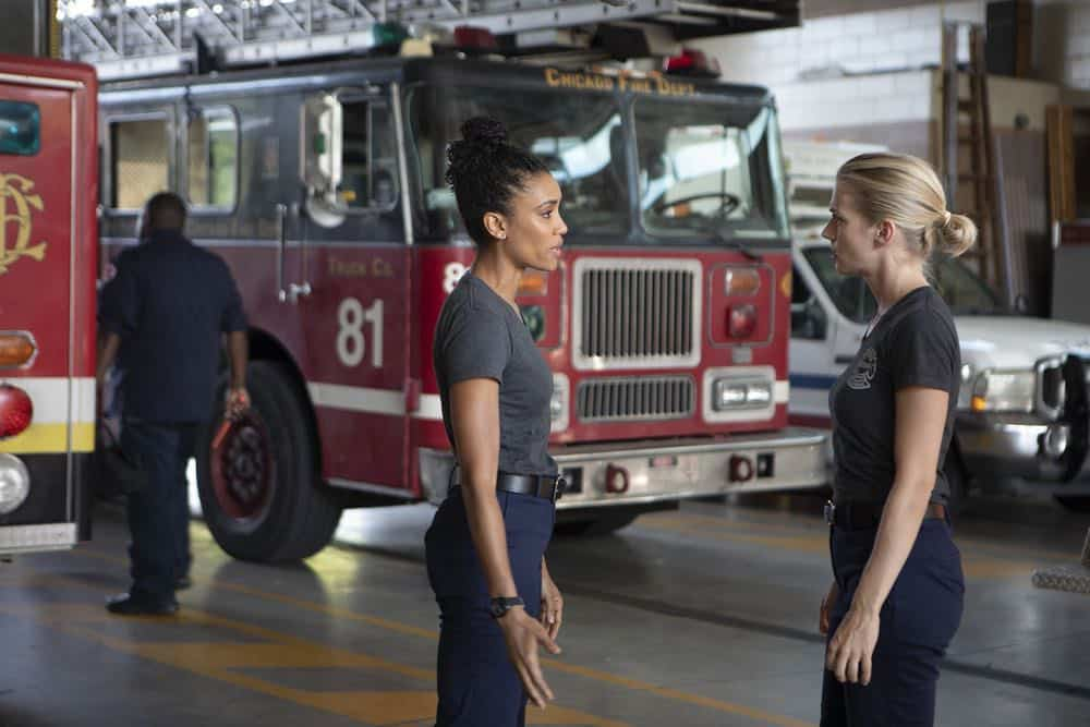 """CHICAGO FIRE -- """"This Isn't Charity"""" Episode 704 -- Pictured: (l-r) Annie Ilonzeh as Emily Foster, Kara Killmer as Sylvie Brett -- (Photo by: Adrian Burrows/NBC)"""