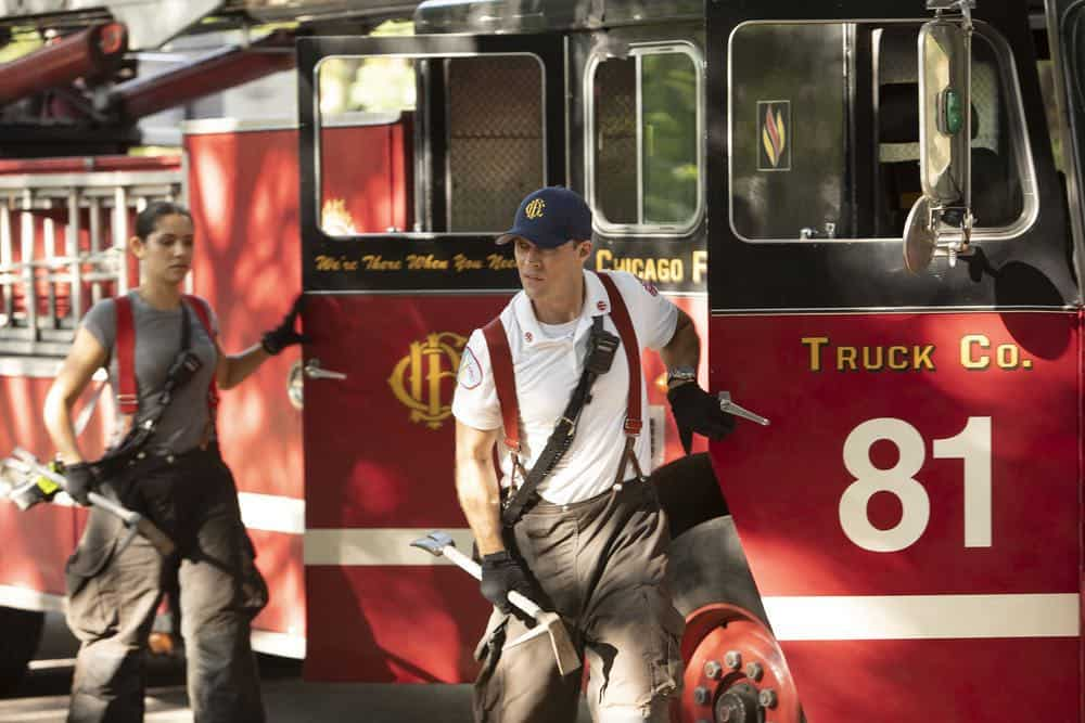 """CHICAGO FIRE -- """"This Isn't Charity"""" Episode 704 -- Pictured: (l-r) Miranda Rae Mayo as Stella Kidd, Jesse Spencer as Matthew Casey -- (Photo by: Adrian Burrows/NBC)"""