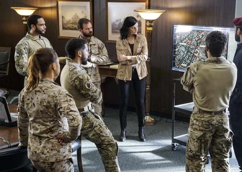 """""""The Worst of Conditions"""" -- After tragedy strikes, Jason is faced with a huge decision regarding his future with Bravo Team, on SEAL TEAM, Wednesday, Oct. 17 (9:00-10:00 PM, ET/PT) on the CBS Television Network. Pictured: Ruffin Prentiss as Summer Kairos, Neil Brown Jr. as Ray Perry, Judd Lormand as Lieutenant Commander Eric Blackburn, Jessica Paré as Mandy Ellis. Photo: MontyBrinton/CBS ©2018 CBS Broadcasting, Inc. All Rights Reserved"""