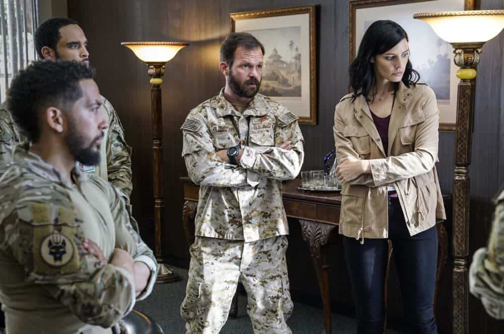 """""""The Worst of Conditions"""" â€"""" After tragedy strikes, Jason is faced with a huge decision regarding his future with Bravo Team, on SEAL TEAM, Wednesday, Oct. 17 (9:00-10:00 PM, ET/PT) on the CBS Television Network. Pictured: Neil Brown Jr. as Ray Perry, Ruffin Prentiss as Summer Kairos, Judd Lormand as Lieutenant Commander Eric Blackburn, Jessica Paré as Mandy Ellis. Photo: MontyBrinton/CBS ©2018 CBS Broadcasting, Inc. All Rights Reserved"""