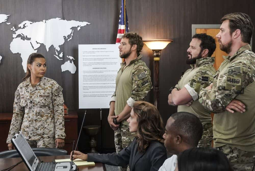 """The Worst of Conditions"" -- After tragedy strikes, Jason is faced with a huge decision regarding his future with Bravo Team, on SEAL TEAM, Wednesday, Oct. 17 (9:00-10:00 PM, ET/PT) on the CBS Television Network. Pictured: Toni Trucks as Lisa David, Max Thieriot as Clay Spenser, AJ Buckley as Sonny Quinn, and Tyler Grey as Trent. Photo: MontyBrinton/CBS ©2018 CBS Broadcasting, Inc. All Rights Reserved"