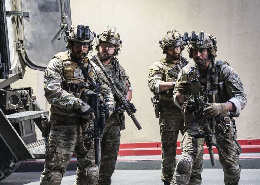 """""""The Worst of Conditions"""" -- After tragedy strikes, Jason is faced with a huge decision regarding his future with Bravo Team, on SEAL TEAM, Wednesday, Oct. 17 (9:00-10:00 PM, ET/PT) on the CBS Television Network. Pictured: Ruffin Prentiss as Summer Kairos, AJ Buckley as Sonny Quinn, Neil Brown Jr. as Ray Perry, Justin Melnick as Brock. Photo: MontyBrinton/CBS ©2018 CBS Broadcasting, Inc. All Rights Reserved"""