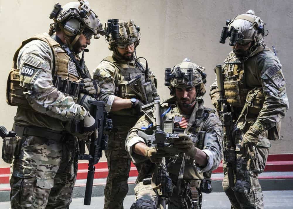 """""""The Worst of Conditions"""" -- After tragedy strikes, Jason is faced with a huge decision regarding his future with Bravo Team, on SEAL TEAM, Wednesday, Oct. 17 (9:00-10:00 PM, ET/PT) on the CBS Television Network. Pictured: Ruffin Prentiss as Summer Kairos, Neil Brown Jr. as Ray Perry, Justin Melnick as Brock and Michael Irby as Adam. Photo: MontyBrinton/CBS ©2018 CBS Broadcasting, Inc. All Rights Reserved"""