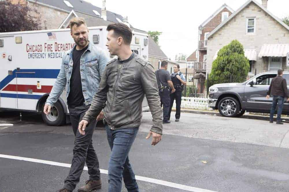"CHICAGO P.D. -- ""Ride Along"" Episode 604 -- Pictured: (l-r) Patrick John Flueger as Adam Ruzek, Jon Seda as Antonio Dawson -- (Photo by: Adrian Burrows/NBC)"
