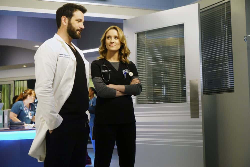"CHICAGO MED -- ""Backed Against The Wall"" Episode 404 -- Pictured: (l-r) Colin Donnell as Connor Rhodes, Norma Kuhling as -- (Photo by: Elizabeth Sisson/NBC)"