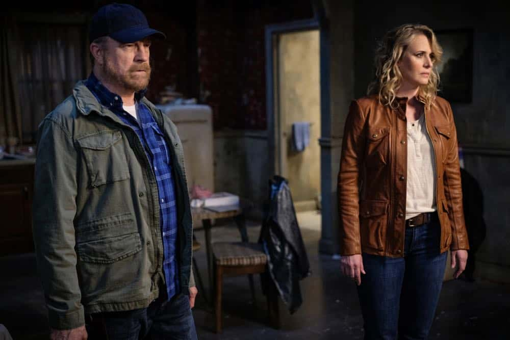 "Supernatural -- ""Gods and Monsters"" -- Image Number: SN1402B_0088Ab.jpg -- Pictured (L-R): Jim Beaver as Bobby Singer and Samantha Smith as Mary Winchester -- Photo: Robert Falconer/The CW -- © 2018 The CW Network, LLC All Rights Reserved"