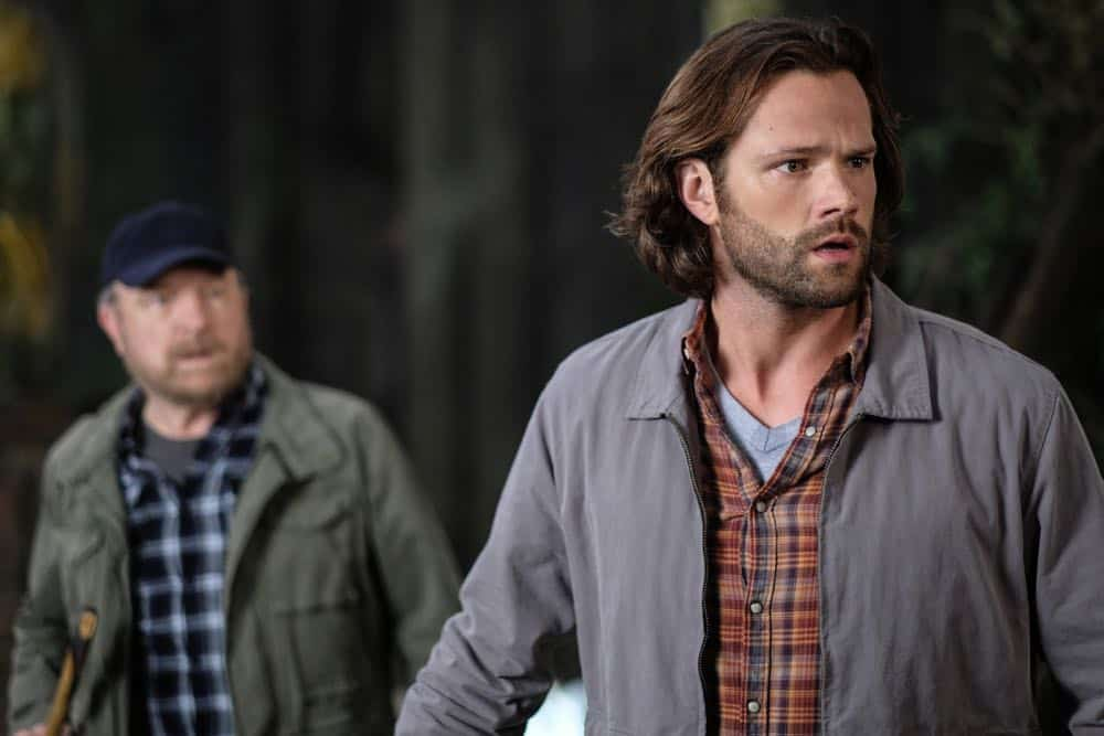 "Supernatural -- ""Gods and Monsters"" -- Image Number: SN1402B_0088Ab.jpg -- Pictured (L-R): Jim Beaver as Bobby Singer and Jared Padalecki as Sam -- Photo: Robert Falconer/The CW -- © 2018 The CW Network, LLC All Rights Reserved"