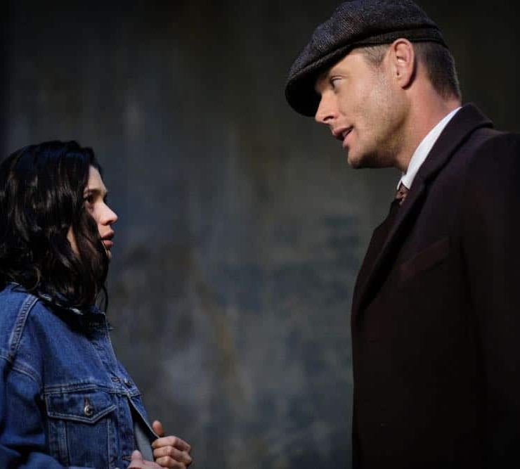 """Supernatural -- """"Gods and Monsters"""" -- Image Number: SN1402B_0316Ab.jpg -- Pictured: Meganne Young as Lydia Crawford and Jensen Ackles as Dean/Michael -- Photo: Robert Falconer/The CW -- © 2018 The CW Network, LLC All Rights Reserved"""
