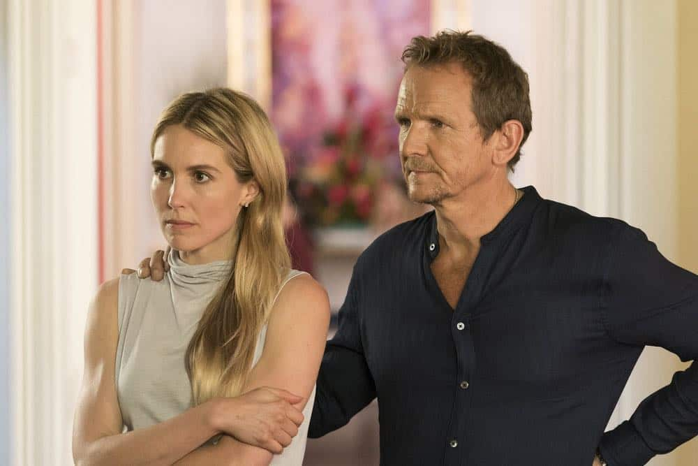 """LAW & ORDER: SPECIAL VICTIMS UNIT -- """"Accredo"""" Episode 2005 -- Pictured: (l-r) Sarah Carter as Lilah Finch, Sebastian Roché as Arlo Beck -- (Photo by: Barbara Nitke/NBC)"""