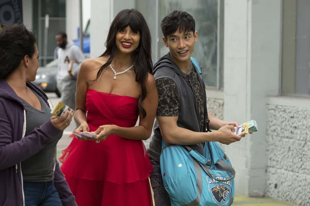 "THE GOOD PLACE -- ""Jeremy Bearimy"" Episode 305 -- Pictured: (l-r) Jameela Jamil as Tahani, Manny Jacinto as Jason Mendoza -- (Photo by: Colleen Hayes/NBC)"