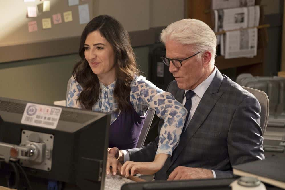 "THE GOOD PLACE -- ""Jeremy Bearimy"" Episode 305 -- Pictured: (l-r) D?Arcy Carden as Janet, Ted Danson as Michael -- (Photo by: Colleen Hayes/NBC)"
