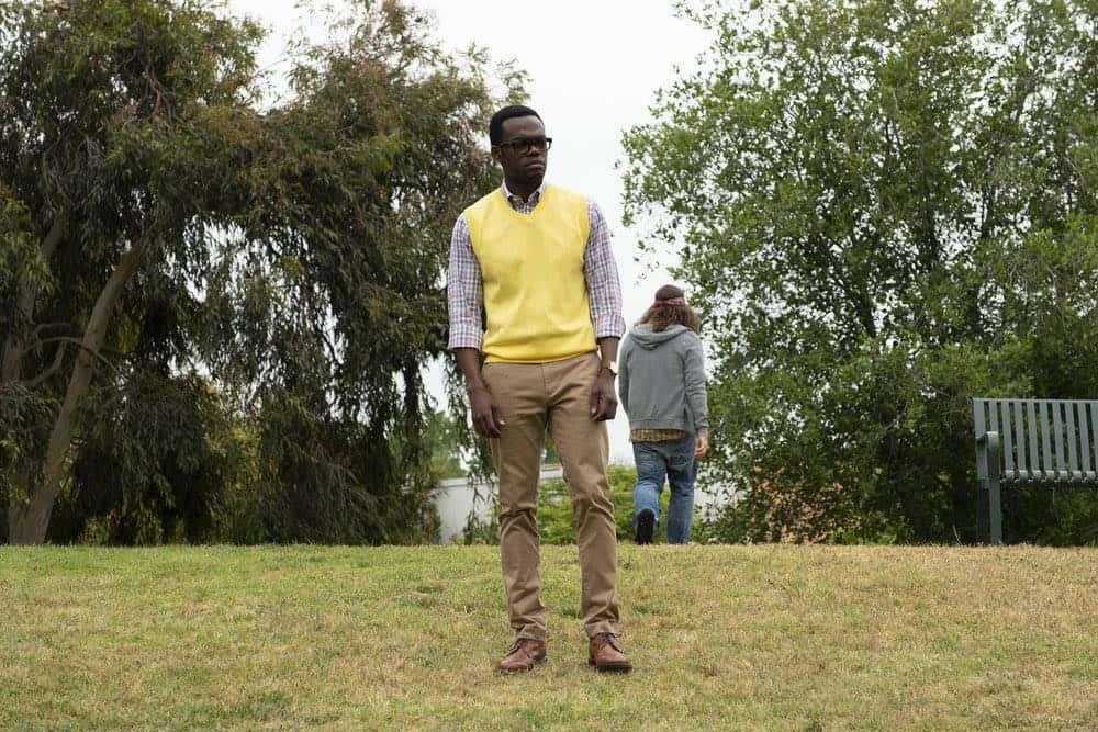 "THE GOOD PLACE -- ""Jeremy Bearimy"" Episode 305 -- Pictured: William Jackson Harper as Chidi -- (Photo by: Colleen Hayes/NBC)"