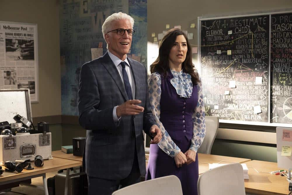 "THE GOOD PLACE -- ""Jeremy Bearimy"" Episode 305 -- Pictured: (l-r) Ted Danson as Michael, D?Arcy Carden as Janet -- (Photo by: Colleen Hayes/NBC)"