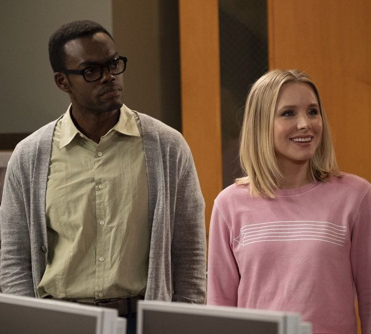 "THE GOOD PLACE -- ""Jeremy Bearimy"" Episode 305 -- Pictured: (l-r) William Jackson Harper as Chidi, Kristen Bell as Eleanor Shellstrop -- (Photo by: Colleen Hayes/NBC)"