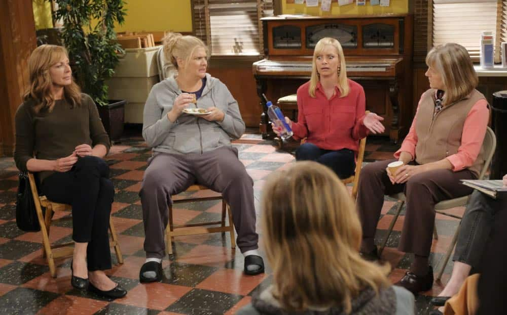 """Big Sauce and Coconut Water"" -- Christy is certain that Bonnie is in over her head when she invites a freshly-paroled Tammy (Kristen Johnston) to stay with them, on MOM, Thursday, date (9:01-9:30 PM, ET/PT) on the CBS Television Network. Pictured L to R: Allison Janney as Bonnie, Kristen Johnston as Tammy, Jaime Pressly as Jill and Mimi Kennedy as Marjorie. Photo: Darren Michaels/Warner Bros. Entertainment Inc. © 2018 WBEI. All rights reserved."