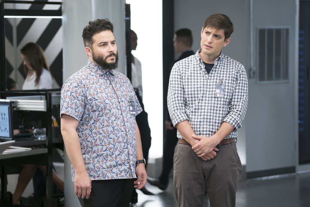 "BLINDSPOT -- ""My Art Project"" Episode 402 -- Pictured: (l-r) Ennis Esmer as Rich Dotcom, Josh Dean as Boston Arliss Crab -- (Photo by: Scott Gries/NBC/Warner Bros.)"