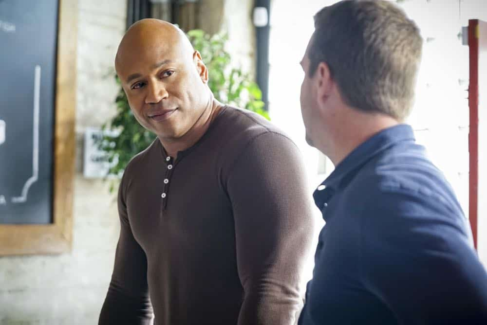 """Hit List"" -- Pictured: LL COOL J (Special Agent Sam Hanna). The NCIS team is in danger after their pictures, as well as Mosley and her son's names, are included on a cartel hit list. Also, NCIS Deputy Director Louis Ochoa (Esai Morales) arrives with Special Prosecutor John Rogers (Peter Jacobson) to interview Mosley about the off-the-books mission in Mexico, on NCIS: LOS ANGELES, Sunday, Oct. 21 (9:30-10:30 PM, ET/9:00-10:00 PM, PT) on the CBS Television Network. Gerald McRaney guest stars as Retired Navy Admiral Hollace Kilbride. Photo: Sonja Flemming/CBS ©2018 CBS Broadcasting, Inc. All Rights Reserved."