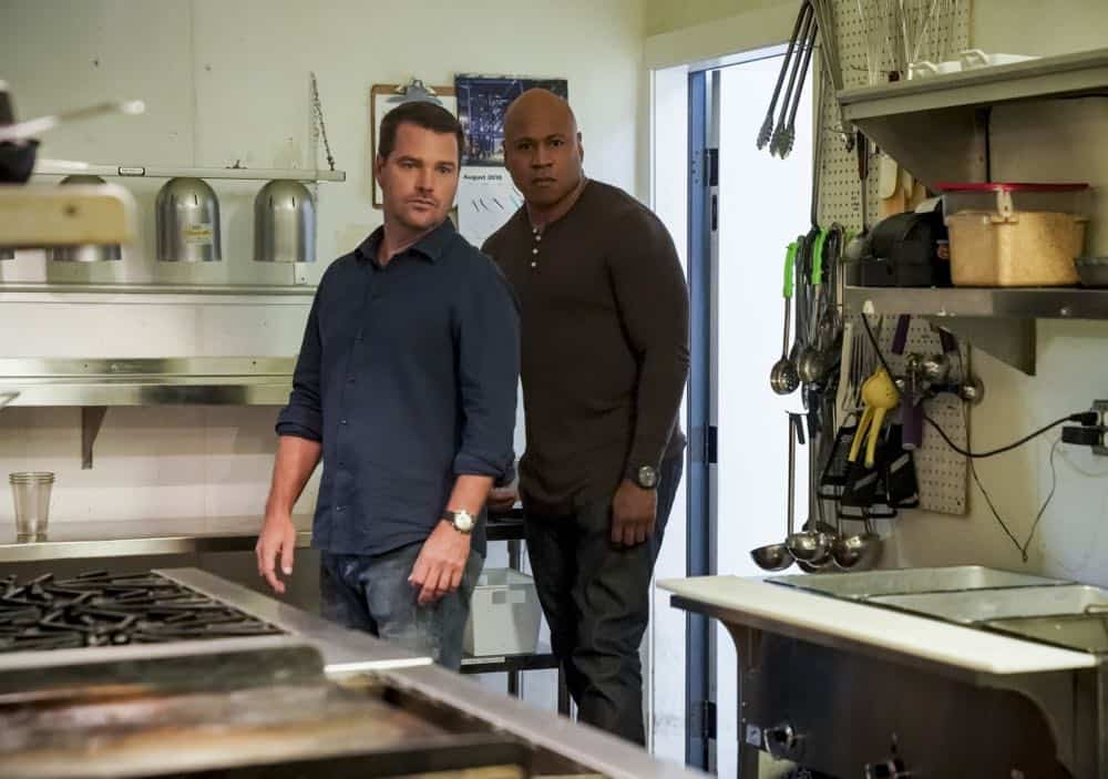 """Hit List"" -- Pictured: Chris O'Donnell (Special Agent G. Callen) and LL COOL J (Special Agent Sam Hanna). The NCIS team is in danger after their pictures, as well as Mosley and her son's names, are included on a cartel hit list. Also, NCIS Deputy Director Louis Ochoa (Esai Morales) arrives with Special Prosecutor John Rogers (Peter Jacobson) to interview Mosley about the off-the-books mission in Mexico, on NCIS: LOS ANGELES, Sunday, Oct. 21 (9:30-10:30 PM, ET/9:00-10:00 PM, PT) on the CBS Television Network. Gerald McRaney guest stars as Retired Navy Admiral Hollace Kilbride. Photo: Sonja Flemming/CBS ©2018 CBS Broadcasting, Inc. All Rights Reserved."