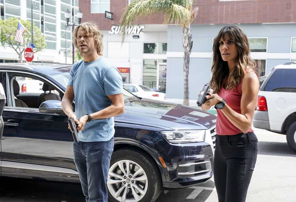 """Hit List"" -- Pictured: Eric Christian Olsen (LAPD Liaison Marty Deeks) and Daniela Ruah (Special Agent Kensi Blye). The NCIS team is in danger after their pictures, as well as Mosley and her son's names, are included on a cartel hit list. Also, NCIS Deputy Director Louis Ochoa (Esai Morales) arrives with Special Prosecutor John Rogers (Peter Jacobson) to interview Mosley about the off-the-books mission in Mexico, on NCIS: LOS ANGELES, Sunday, Oct. 21 (9:30-10:30 PM, ET/9:00-10:00 PM, PT) on the CBS Television Network. Gerald McRaney guest stars as Retired Navy Admiral Hollace Kilbride. Photo: Sonja Flemming/CBS ©2018 CBS Broadcasting, Inc. All Rights Reserved."