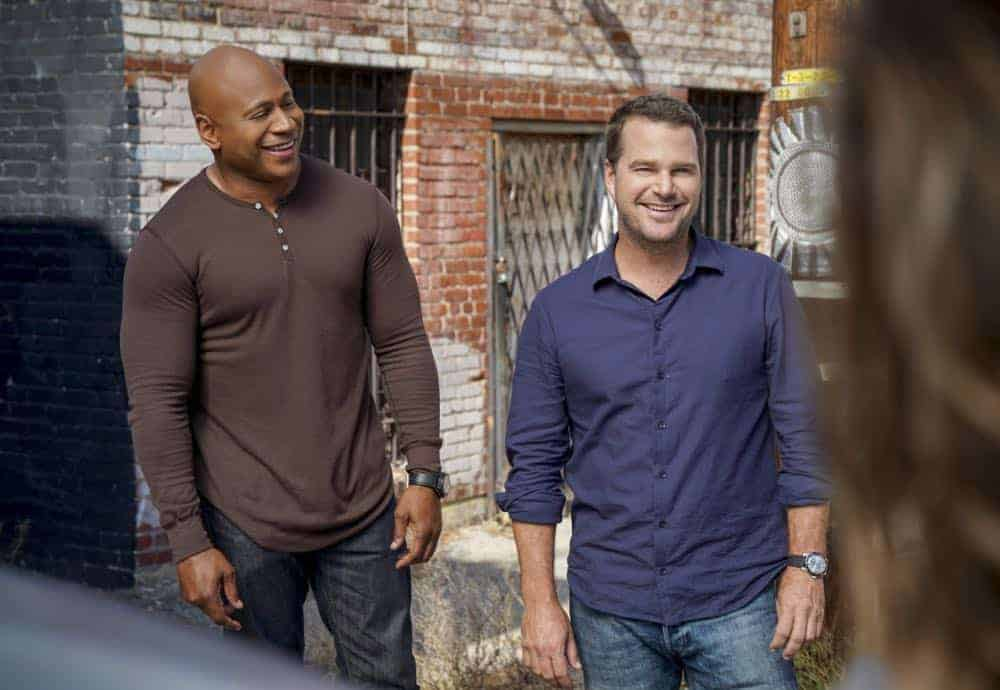"""Hit List"" -- Pictured: LL COOL J (Special Agent Sam Hanna) and Chris O'Donnell (Special Agent G. Callen). The NCIS team is in danger after their pictures, as well as Mosley and her son's names, are included on a cartel hit list. Also, NCIS Deputy Director Louis Ochoa (Esai Morales) arrives with Special Prosecutor John Rogers (Peter Jacobson) to interview Mosley about the off-the-books mission in Mexico, on NCIS: LOS ANGELES, Sunday, Oct. 21 (9:30-10:30 PM, ET/9:00-10:00 PM, PT) on the CBS Television Network. Gerald McRaney guest stars as Retired Navy Admiral Hollace Kilbride. Photo: Sonja Flemming/CBS ©2018 CBS Broadcasting, Inc. All Rights Reserved."