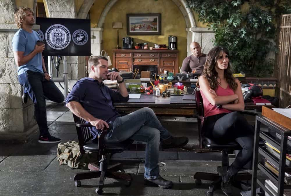 """Hit List"" -- Pictured: Eric Christian Olsen (LAPD Liaison Marty Deeks), Chris O'Donnell (Special Agent G. Callen), LL COOL J (Special Agent Sam Hanna) and Daniela Ruah (Special Agent Kensi Blye). The NCIS team is in danger after their pictures, as well as Mosley and her son's names, are included on a cartel hit list. Also, NCIS Deputy Director Louis Ochoa (Esai Morales) arrives with Special Prosecutor John Rogers (Peter Jacobson) to interview Mosley about the off-the-books mission in Mexico, on NCIS: LOS ANGELES, Sunday, Oct. 21 (9:30-10:30 PM, ET/9:00-10:00 PM, PT) on the CBS Television Network. Gerald McRaney guest stars as Retired Navy Admiral Hollace Kilbride. Photo: Monty Brinton/CBS ©2018 CBS Broadcasting, Inc. All Rights Reserved."
