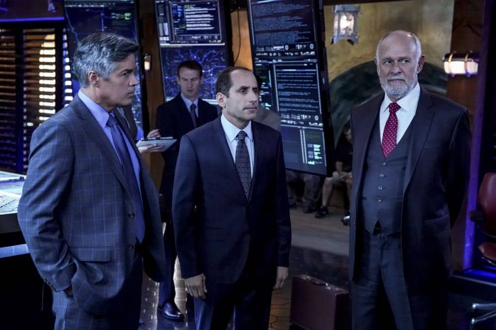 """Hit List"" -- Pictured:  Esai Morales (NCIS Deputy Director Louis Ochoa), Peter Jacobson (John Rogers) and Gerald McRaney (Retired Navy Admiral Hollace Kilbride). The NCIS team is in danger after their pictures, as well as Mosley and her son's names, are included on a cartel hit list. Also, NCIS Deputy Director Louis Ochoa (Esai Morales) arrives with Special Prosecutor John Rogers (Peter Jacobson) to interview Mosley about the off-the-books mission in Mexico, on NCIS: LOS ANGELES, Sunday, Oct. 21 (9:30-10:30 PM, ET/9:00-10:00 PM, PT) on the CBS Television Network. Gerald McRaney guest stars as Retired Navy Admiral Hollace Kilbride. Photo: Monty Brinton/CBS ©2018 CBS Broadcasting, Inc. All Rights Reserved."