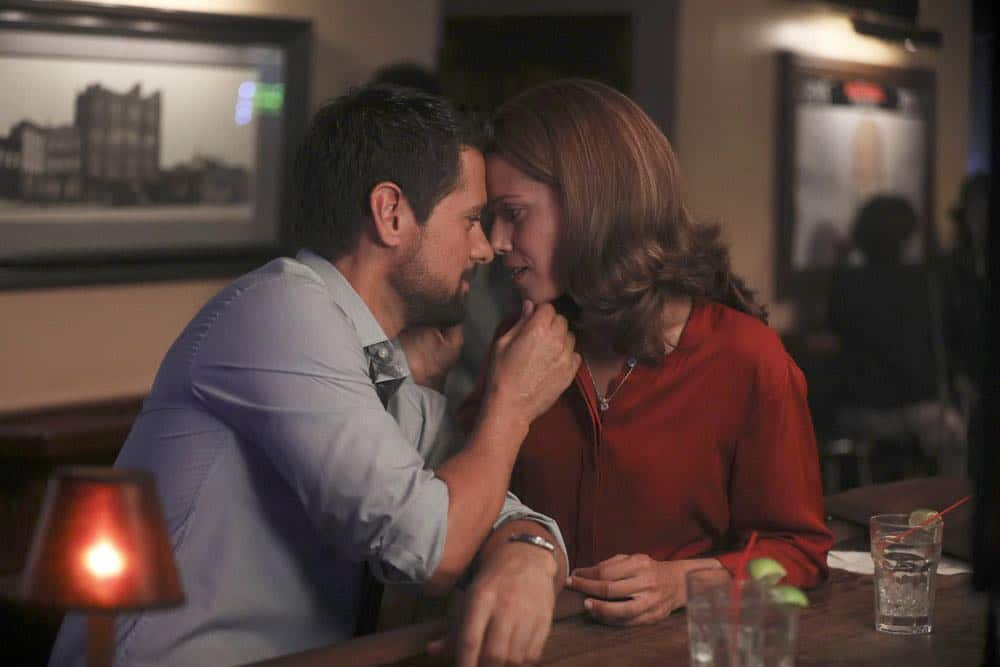 "MANIFEST -- ""Connecting Flights"" Episode 105 -- Pictured: (l-r) J.R. Ramirez as Jared Vasquez, Victoria Cartagena as Lourdes -- (Photo by: Craig Blankenhorn/NBC/Warner Brothers)"