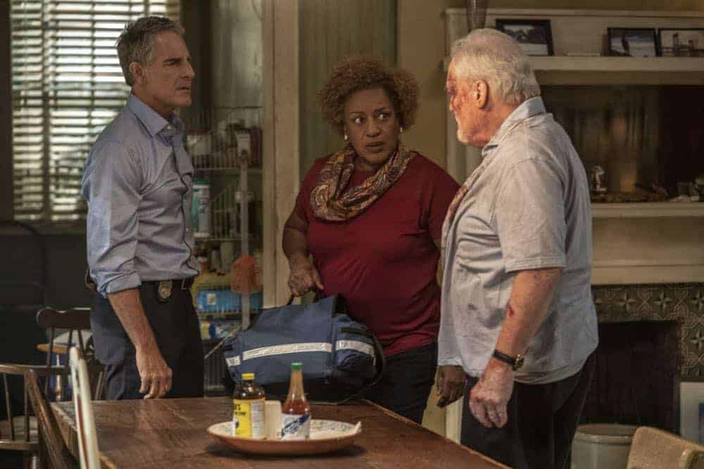 """""""In the Blood"""" - Pride's father, Cassius Pride (Stacy Keach), is wrapped up in an NCIS case involving a notorious unsolved casino heist from several years ago. Also, Pride meets a family member he never knew existed, on the milestone 100th episode of NCIS: NEW ORLEANS, Tuesday, Oct. 23 (10:00-11:00 PM, ET/PT) on the CBS Television Network. Pictured L-R: Scott Bakula as Special Agent Dwayne Pride, CCH Pounder as Dr. Loretta Wade, and Stacy Keach as Cassius Pride Photo: Skip Bolen/CBS ©2018 CBS Broadcasting, Inc. All Rights Reserved"""
