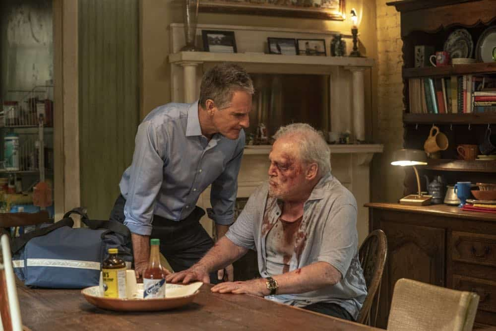 """""""In the Blood"""" - Pride's father, Cassius Pride (Stacy Keach), is wrapped up in an NCIS case involving a notorious unsolved casino heist from several years ago. Also, Pride meets a family member he never knew existed, on the milestone 100th episode of NCIS: NEW ORLEANS, Tuesday, Oct. 23 (10:00-11:00 PM, ET/PT) on the CBS Television Network. Pictured L-R: Scott Bakula as Special Agent Dwayne Pride and Stacy Keach as Cassius Pride Photo: Skip Bolen/CBS ©2018 CBS Broadcasting, Inc. All Rights Reserved"""