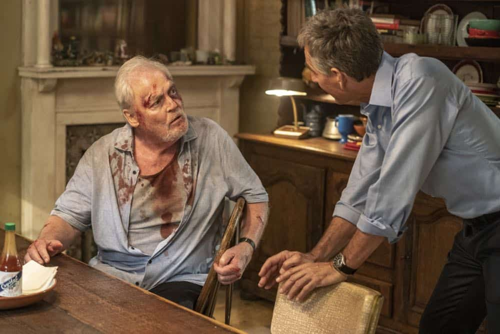 """""""In the Blood"""" - Pride's father, Cassius Pride (Stacy Keach), is wrapped up in an NCIS case involving a notorious unsolved casino heist from several years ago. Also, Pride meets a family member he never knew existed, on the milestone 100th episode of NCIS: NEW ORLEANS, Tuesday, Oct. 23 (10:00-11:00 PM, ET/PT) on the CBS Television Network. Pictured L-R: Stacy Keach as Cassius Pride and Scott Bakula as Special Agent Dwayne Pride Photo: Skip Bolen/CBS ©2018 CBS Broadcasting, Inc. All Rights Reserved"""