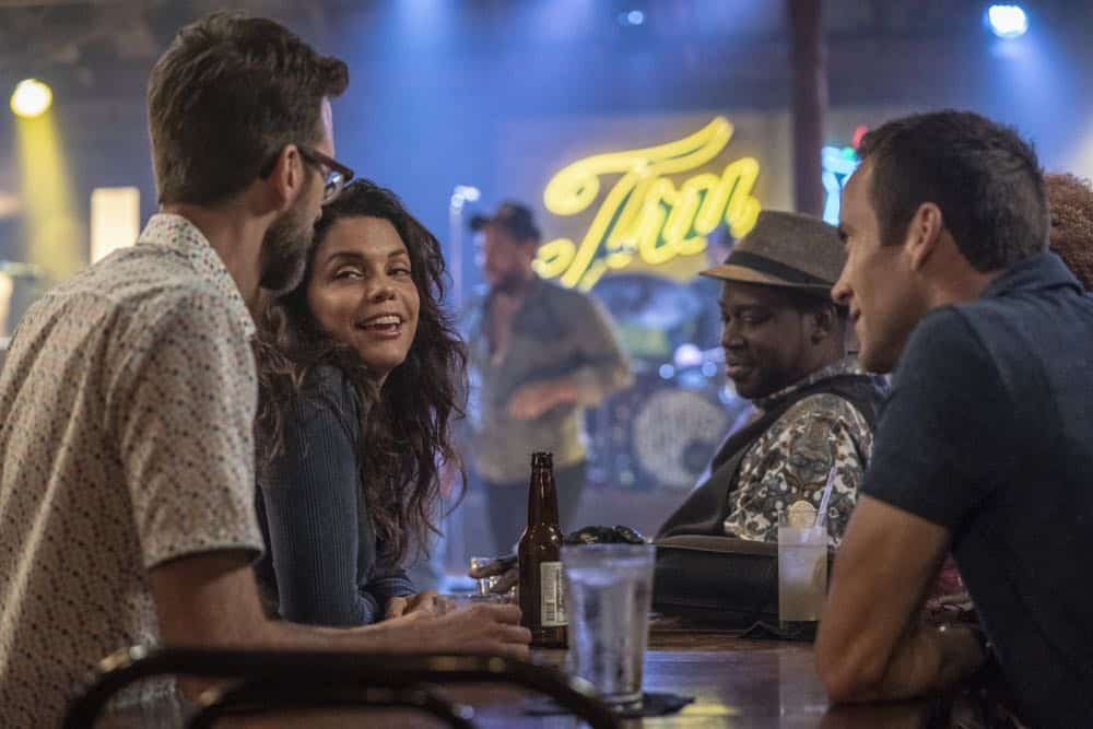 """""""In the Blood"""" - Pride's father, Cassius Pride (Stacy Keach), is wrapped up in an NCIS case involving a notorious unsolved casino heist from several years ago. Also, Pride meets a family member he never knew existed, on the milestone 100th episode of NCIS: NEW ORLEANS, Tuesday, Oct. 23 (10:00-11:00 PM, ET/PT) on the CBS Television Network. Pictured L-R: Rob Kerkovich as Forensic Scientist Sebastian Lund, Vanessa Ferlito as FBI Special Agent Tammy Gregorio, Daryl Chill Mitchell as Patton Plame, and Lucas Black as Special Agent Christopher LaSalle Photo: Skip Bolen/CBS ©2018 CBS Broadcasting, Inc. All Rights Reserved"""