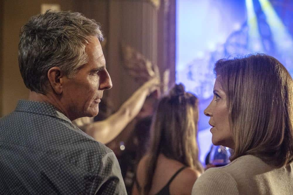 """""""In the Blood"""" - Pride's father, Cassius Pride (Stacy Keach), is wrapped up in an NCIS case involving a notorious unsolved casino heist from several years ago. Also, Pride meets a family member he never knew existed, on the milestone 100th episode of NCIS: NEW ORLEANS, Tuesday, Oct. 23 (10:00-11:00 PM, ET/PT) on the CBS Television Network. Pictured L-R: Scott Bakula as Special Agent Dwayne Pride and Melinda McGraw as Gina Powell Photo: Skip Bolen/CBS ©2018 CBS Broadcasting, Inc. All Rights Reserved"""