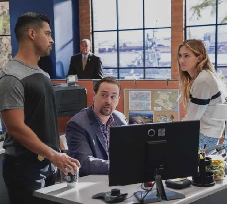 """Fragments"" After a 50-year-old tape recording left by a murder victim is found, the NCIS team tries to exonerate Ray Jennings (Charlie Robinson), the Marine serving a life sentence for the crime, on NCIS, Tuesday, Oct. 23 (8:00-9:00 PM, ET/PT) on the CBS Television Network. Pictured: Wilmer Valderrama, Sean Murray, Emily Wickersham. Photo: Greg Gayne/CBS ©2018 CBS Broadcasting, Inc. All Rights Reserved"