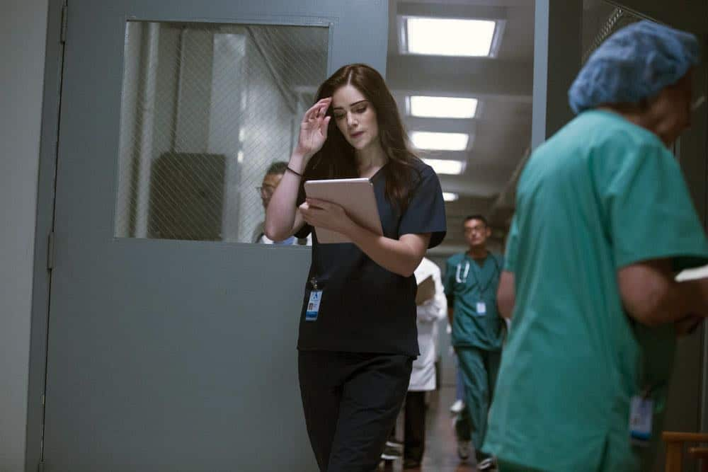 """NEW AMSTERDAM -- """"Cavitation"""" Episode 105 -- Pictured: Janet Montgomery as Dr. Lauren Bloom -- (Photo by: Francisco Roman/NBC)"""