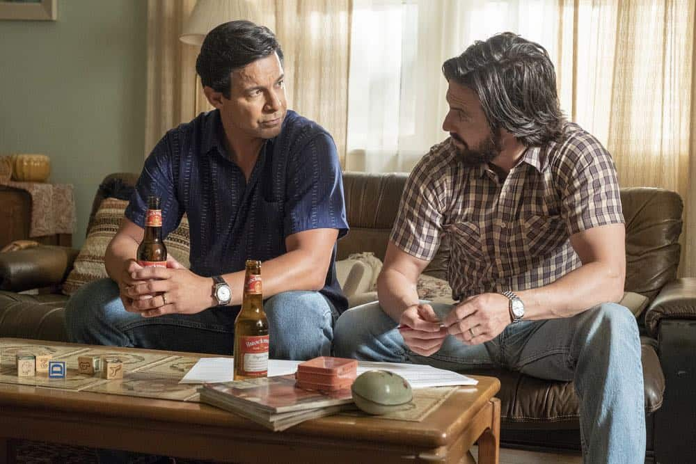 "THIS IS US -- ""Toby"" Episode 305 -- Pictured: (l-r) Jon Huertas as Miguel Rivas, Milo Ventimiglia as Jack Pearson -- (Photo by: Ron Batzdorff/NBC)"