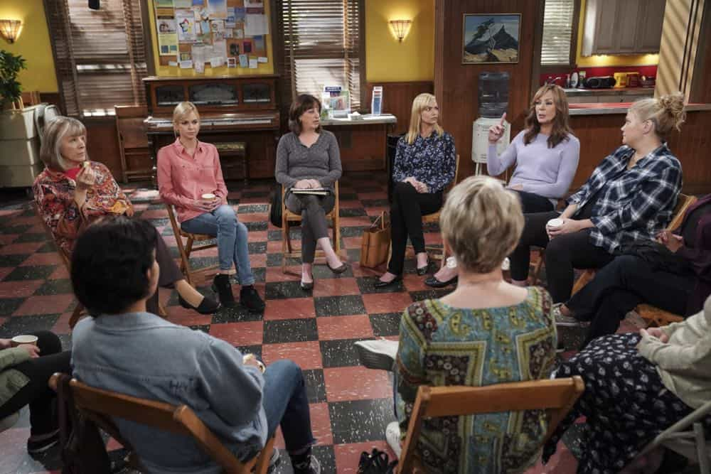 """Flying Monkeys and a Tank of Nitrous"" -- When Marjorie's husband passes away, the ladies accompany her on a trip to memorialize him, on MOM, Thursday, date (9:01-9:30 PM, ET/PT) on the CBS Television Network. Pictured L to R: Mimi Kennedy as Marjorie, Anna Faris as Christy, Beth Hall as Wendy, Jaime Pressly as Jill, Allison Janney as Bonnie, and Kristen Johnston as Tammy. Photo: Sonja Flemming/CBS ©2018 CBS Broadcasting, Inc. All Rights Reserved"