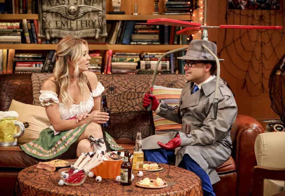 """The Imitation Perturbation"" - Pictured: Penny (Kaley Cuoco) and Leonard Hofstadter (Johnny Galecki). When Wolowitz dresses up as Sheldon for Halloween, Sheldon seeks retaliation at Leonard and Penny's Halloween party. Also, Leonard is shocked that Penny doesn't remember their first kiss, on THE BIG BANG THEORY, Thursday, Oct. 25 (8:00-8:31 PM, ET/PT) on the CBS Television Network. Photo: Michael Yarish/CBS ©2018 CBS Broadcasting, Inc. All Rights Reserved."